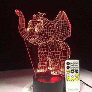 3D Illusion Lampe Led Veilleuse Petit Éléphant Acrylique Coloré Usb Plug In Creative Cadeaux En Gros Décorations De Fête Cadeau Pour Bébé Chambre Décor