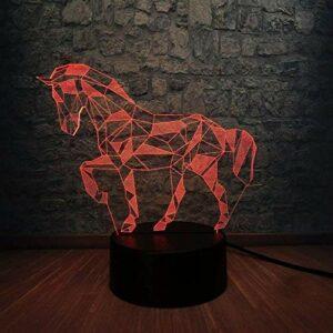 Cadeaux pour petits amis Cadeaux de Noël Lampe 3D Animal Rétro Cheval Atmosphère 3D LED USB Lampe Multicolore Licorne Veilleuses Enfant Visuel Noël Nouvel An Cadeau avec Télécommande