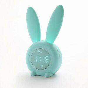 FanLe Réveil pour enfants en forme de lapin avec veilleuse pour enfants, adolescents, réveil numérique avec 6 sonneries et mode répétition pour chambre à coucher, cadeau d'anniversaire ou de Noël