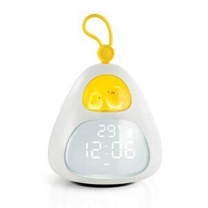 Hangrow Réveil pour chambre à coucher, veilleuse LED pour enfants, réveil mignon en forme d'œuf, réveil LED pour chambre à coucher, avec chargement USB, 3 minuteurs, 6 musiques