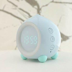 Horloge numérique LED avec éclairage de réveil, lampe de table avec mode coucher de soleil, veilleuse pour chambre d'enfant, décoration de bureau (couleur : bleu)