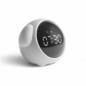 JJZST Réveil Enfants Mignon Pixel Expression Horloge LED veilleuse électronique numérique réveil Snooze Commande vocale Horloge de Table (Color : White)
