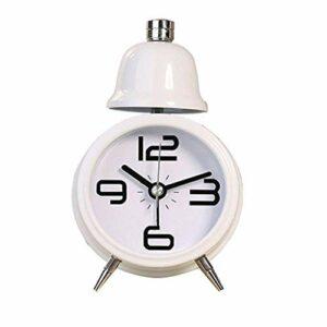 JJZST Réveil – Simple Moderne Creative étudiant Sourdine Chambre Chevet Lampe veilleuse en métal guéridon Horloge de Bell (Color : White)