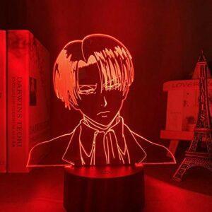 Lampe de nuit 3D – En acrylique – 3D – Levi Ackerman – Attaque sur titane – Pour décoration de la maison – Pour enfant – Cadeau – Levi Ackerman – Veilleuse LED – Anime MAOJIE