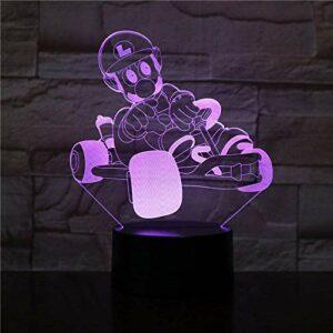 Lampe Illusion 3D LED veilleuse Budget Deal Mario Racing 7 couleurs Chang dormir chambre décor amour cadeau meilleur anniversaire vacances cadeaux pour enfants