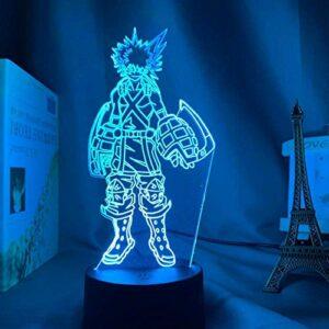 Lampe Illusion 3D Led Veilleuse Katsuki Bakugo Chambre D'Enfants Capteur Tactile Chambre Anime Mon Héros Académique Lampe De Table Meilleur Anniversaire Pour Les Enfants