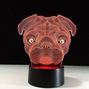 Lampe Illusion 3D LED veilleuse USB mignon carlin chien bébé animaux 7 couleurs lampe de Table pour décoration de noël anniversaire enfants vacances cadeaux