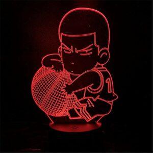 Lampe Illusion 3D Veilleuse LED Lampa Slam Dunk Figure Hanamichi Sakuragi Anime Lampe Décoration De La Maison Table Lumières 7 Changement De Couleur Enfants Cadeau Poupée