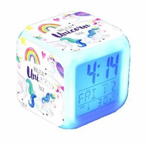Licorne réveils numériques pour Filles, Horloge LED Night Glowing Cube LCD avec lumière Enfants réveillent Horloge de Chevet Cadeaux d'anniversaire pour Enfants