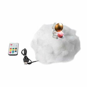Marjory Veilleuse LED nuages multicolores avec lampe astronaute, avec télécommande arc-en-ciel, veilleuse enfant, prise USB dans veilleuses.