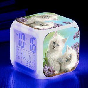 Mignon Animal Chat Imprimer coloré réveil quadrangulaire créatif Petit réveil Petit Cadeau pour étudiants et Enfants SeeChart17