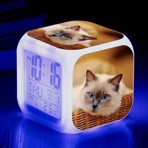 Mignon Animal Chat Imprimer coloré réveil quadrangulaire créatif Petit réveil Petit Cadeau pour étudiants et Enfants SeeChart4