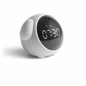 Mignon Expression réveil Multifonctionnel Chevet Commande vocale veilleuse Snooze réveil Enfant Rechargeable