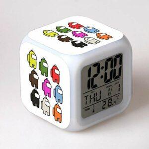 Mitrilifi Dessin animé réveil Horloge numérique Enfants réveil lumière LED Horloge Jouet réveil Table Table Clignotante réveil carré 17