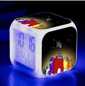 Mitrilifi Petite Horloge LED réveil Clignotant coloré réveil Maison Lampe de Table Lumineuse pour Enfants Enfants Cadeaux décoration de la Maison Ornements Blanc