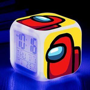 Mitrilifi Petite Horloge LED réveil Clignotant coloré réveil Maison Lampe de Table Lumineuse pour Enfants Enfants Cadeaux décoration de la Maison Ornements Noir