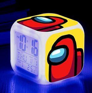 Mitrilifi Petite Horloge LED réveil Clignotant coloré réveil Maison Lampe de Table Lumineuse pour Enfants Enfants Cadeaux décoration de la Maison Ornements Prune