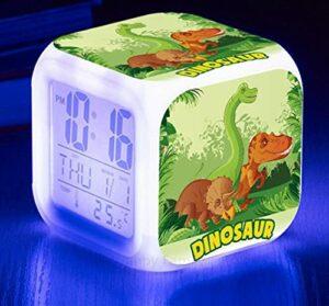 Mitrilifi Très Mignon 7 Changement de Couleur Horloge électronique Lumineuse Dessin animé Dinosaure réveil LED Chambre d'enfants Jouet Multifonctionnel réveil carré réveil Flash Violet
