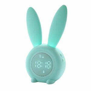 Réveil numérique à LED avec oreilles de lapin – Contrôle du son USB – Lampe de chevet – Décoration d'intérieur – Couleur : cyan opaque