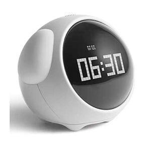 Réveil pour Enfants, Réglage Double Alarme, Veilleuse À Luminosité Réglable, Commande Vocale, Répétition, Détection De Température (Color : White)