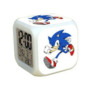 Réveil sonique Alarme de Dessin animé Sonic 2 Le hérisson LED Silencieux pour Les élèves élèves Cadeau d'anniversaire