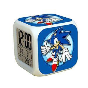 Réveil sonique Cadeaux d'anniversaire pour la Chambre des Enfants Sonic 2 The Hedgehog LED Alarm Clock Tails Miles Watch Horloges numériques
