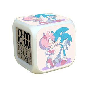 Réveil sonique Enfants garçons Filles Cadeau d'anniversaire Jouets Sonic LED réveil Cool Figure Horloge Lumineuse colorée Enfants