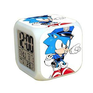 Réveil sonique Enfants Mode Sonic 2 Dessin animé réveil pour garçons Filles Cadeaux Simple étudiant Enfants Cadeau d'anniversaire