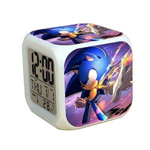Réveil sonique Réveil LED veilleuse silencieuse Ditigal réveil Cadeau Sonic Le hérisson 2