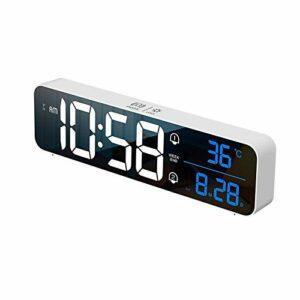 Réveils, Grand réveil numérique à LED avec température, répétition, Jour de la Semaine, Chargement USB et Double Alarme 40 sonneries pour Chambre, Chevet, Salon, Bureau, Voyage