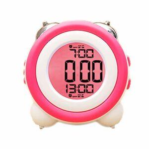 RUCC LED Électronique Réveil Mute Nuit Lumière Double Cloche Snooze Paresseux Moderne Mode Simple Lit Belle Maison Personnalité Créative Multicolore 11.4 cm * 7.9 cm * 11.5 cm (Color : Pink)