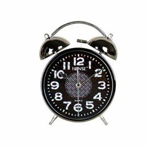 RUCC Métal métal Noir Minimaliste créatif sonnant réveil Silencieux veilleuse étudiants de Mode Enfants Chambre Simple Petit réveil