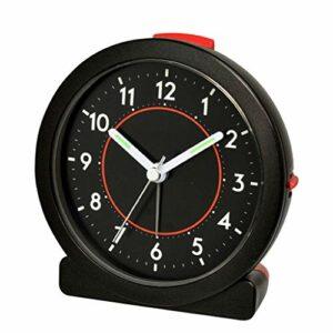 RUCC Résine réveil muet Simple Nuit lumière étudiant avec Snooze électronique créatif Chevet Trois Couleurs 9.5 * 5 * 10.5 cm (Color : Black)