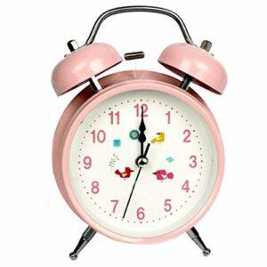 RUCC Silencieux Mignon Réveil Double Bell Nuit Lumière Snooze Paresseux Moderne Mode Simple Lit Belle Maison Personnalité Créative Multicolore Facultatif 10.5 cm * 5.5 cm * 16.5 cm (Color : Pink)