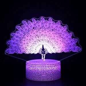 Veilleuse 3D à LED magique, motif paon, télécommande à changement de couleur, idée cadeau créative pour les enfants
