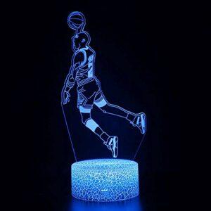 Veilleuse 3D LED magique pour athlète, télécommande à changement de couleur, idée cadeau créative pour enfants