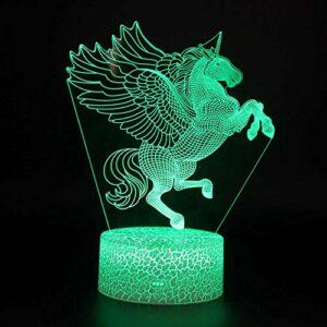 Veilleuse Illusion Licorne Lumière d'ambiance 3D Optique Illusion Veilleuse 7 Couleurs Et Interrupteur Tactile Alimenté par USB Chambre Chevet Table de Cadeau De noël