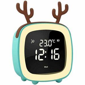 YuKeShop Mignon réveil numérique de chevet, veilleuse, lumières RVB avec température, luminosité réglable, musique intelligente, cadeau idéal pour garçons et filles