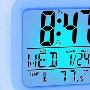 YuKeShop Réveil numérique de voyage pour chambre à coucher, garçon, fille, petit bureau, horloge de chevet, affichage de l'heure/de la date, veilleuse LED avec répétition