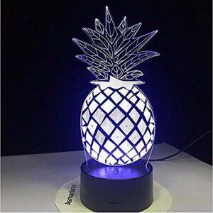3D Illusion lumière Veilleuse Prix ananas Décoration pour Enfant Chambre Chevet Table de Bébé Enfant Cadeau De Noël FêteAnniversaire Avec chargement USB, contrôle tactile de changement de couleu
