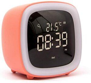 ASDF Réveils pour Enfants, réveil numérique pour Animaux de Compagnie Mignon, avec Calendrier de température, Fonction de répétition, veilleuse chronométrée (Couleur: Orange)