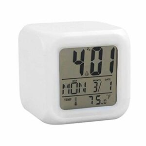 Bonbela 7 couleurs horloge numérique réveil veilleuse LED lampe numérique créative lampe réveil