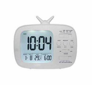 DIEFMJ réveils Réveil électronique pour Enfants Réveil pour étudiants Réveil de Chevet Lumière Intelligente Petite veilleuse Fonction de Veille prolongée 12 * 10.3CM (Couleur: Vert)