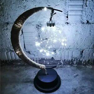 GOUDANER 2021 Nouvelle Lampe Lunaire EnchantéE – Veilleuse Magic Moon, Veilleuse ComméMorative Suspendue Lune AlimentéE par USB/Batterie (NAUXIU) USB lumière Blanche