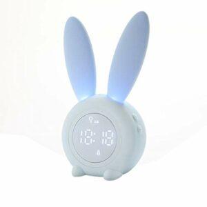 Hanone Réveil lumière Lampe de Chevet réveil lumière Lapin réveil Cadeau pour Enfant Bleu