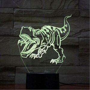 Illusion lampe 3D Veilleuse Lampe dinosaure chambre lampe de chevet cadeau de noël maison Avec chargement USB, contrôle tactile de changement de couleur coloré