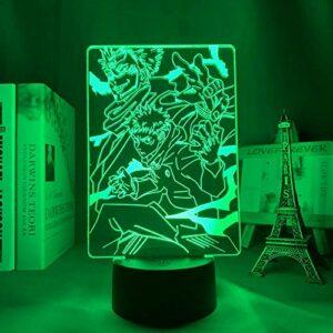 Lampe 3D Anime Veilleuse Illusion Veilleuse Jujutsu Kaisen Ryomen Sukuna LED pour décoration de chambre à coucher Cadeau d'anniversaire Yuji Itadori Jujutsu Kaisen Gadget-Contrôle tactile