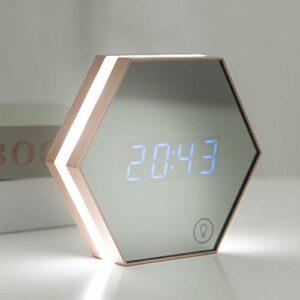 Lampe de Chevet Lampe Chambre à Coucher Réveil de Chevet Lumière Smart Accueil Multi-Fonction Miroir USB Night Night Light Thermomètre (Color : Gold)