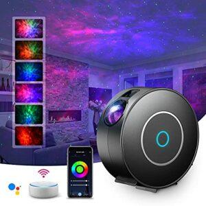 LED Alexa Projecteur Étoiles Rotatif,SUPPOU Planetarium Projecteur Led Intelligent,Veilleuse,Gradation/Contrôle vocal/Connexion WiFi/Minuterie,Chambre,Cadeau,Pâques, Avec Alexa, Google Assistant