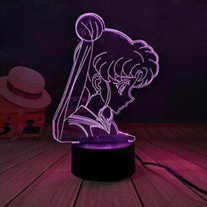 LED veilleuse, Sailor Moon Anime lampes à LED veilleuse pour filles chambre décor capteur tactile coloré veilleuse LED lampe de Table cadeaux